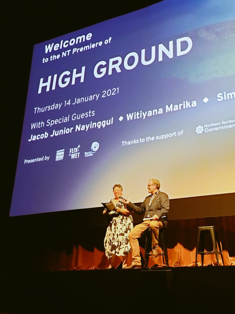 "Love this from Simon Baker  Q: ""Hollywood to Arhem Land.  That's a big move?""  SB: ""yeah I've finally made it""  #highground"