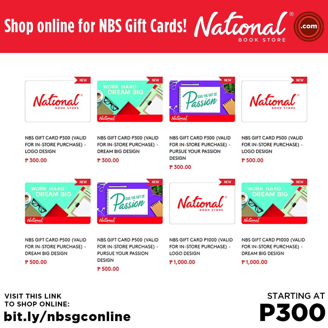 Shop for books and supplies conveniently with an NBS Gift Card! This reloadable card can be used at any NBS branch nationwide. It's also a practical gift idea for anyone you love!  Get it at our branches or online: . #NBSGiftCard #NBSeveryday