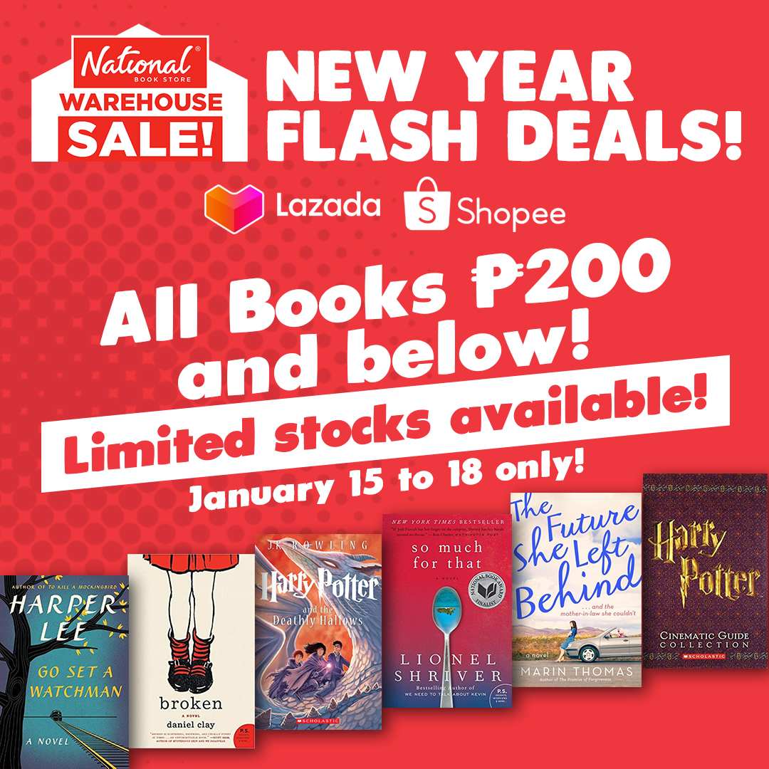 SALE ALERT: Get books for only P200 and below from our Warehouse Sale stores on Shopee and Lazada!  Add to cart and check out: 🔗Lazada -  🔗Shopee -   Sale runs from January 15 to 18, 2021 only. #NBSsale #NBSeveryday