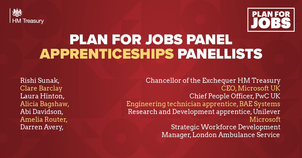 Look out for a link at 12.30pm when Ill be taking part in a live panel on the value of apprenticeships. #PlanForJobs