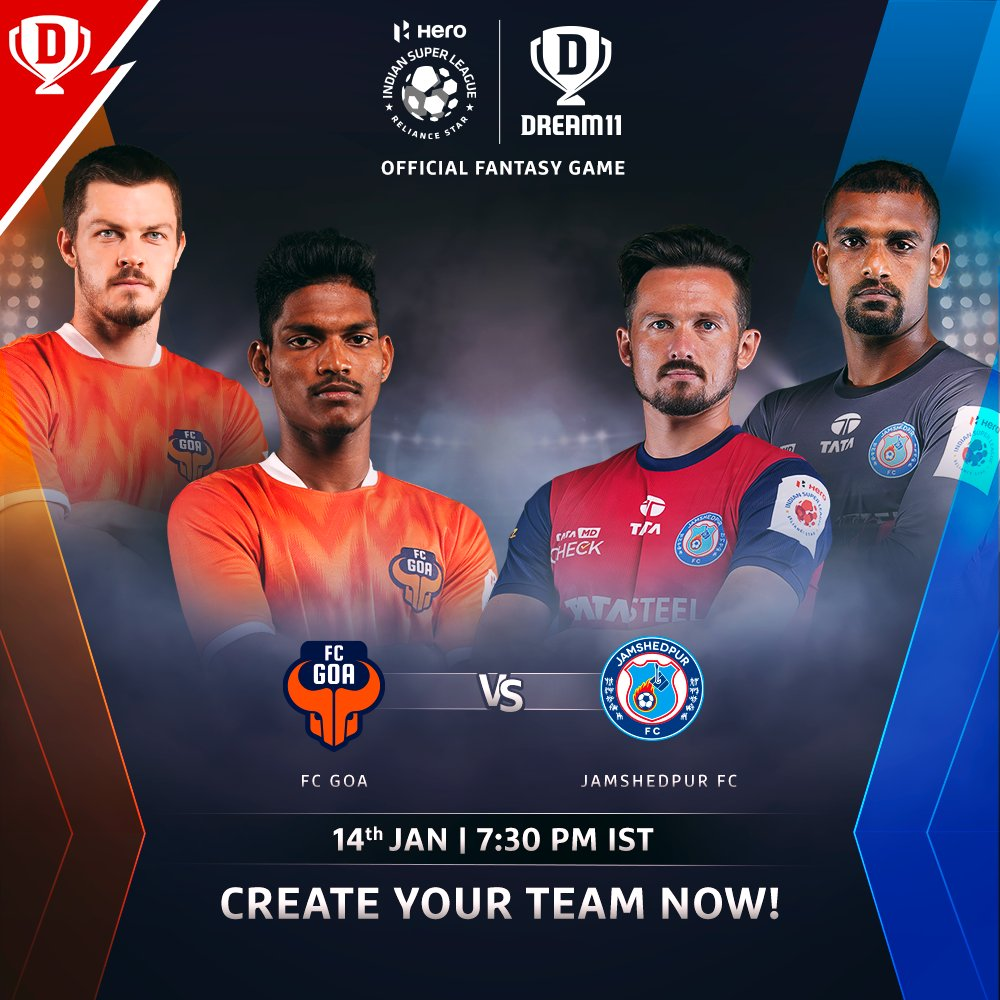 A spirited @JamshedpurFC will go out for a win with a chance to leapfrog @FCGoaOfficial in the #HeroISL points table ⬆️  Download the app and create your #Dream11. Click: . #LetsFootball #FCGJFC @IndSuperLeague