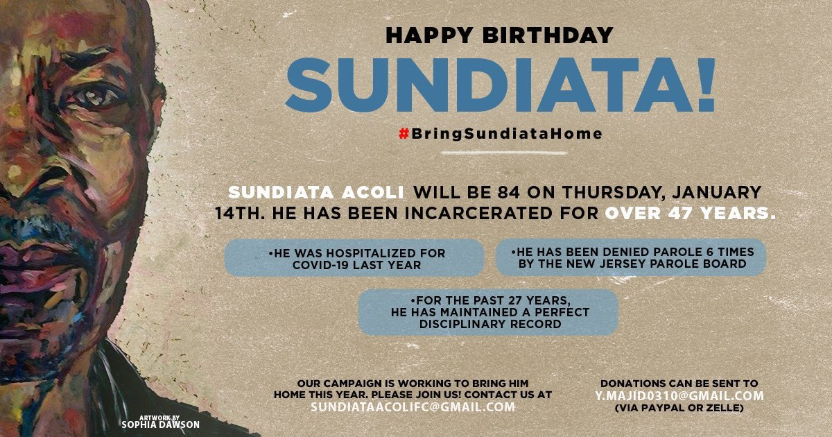 Sundiata Acoli is a victim of the FBI's COINTELPRO efforts. He has been incarcerated for 47 years & his continued incarceration is a drain on resources. He turns 84 years old on January 14th, let's work to get him free. For more info: SundiataAcoliFC@gmail.com #BringSundiataHome