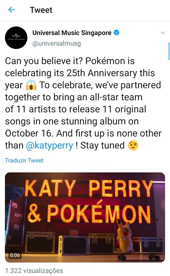 According to Universal Music Sigapore, the album in celebration of @Pokemon's 25th anniversary will be released on October 16 and the first single will be @katyperry.