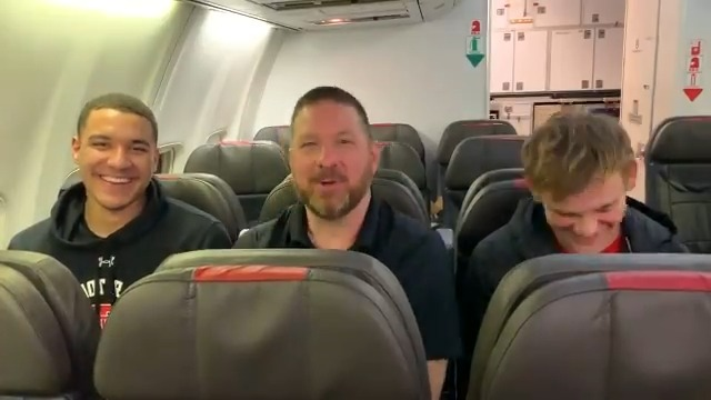 Our first top-5 road win in program history calls for a @CoachBeardTTU 🔥#FiresideChat on the team plane with @McclungMac and @Kevin_McCullar.