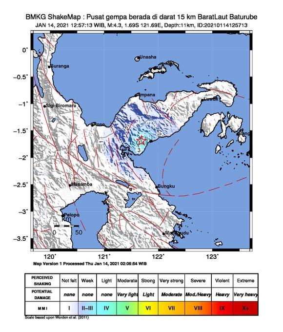 Pusat gempa di Baturube, Morowali Utara, Sulteng, Kamis (14/1/2021) pukul 13.35 WITA.