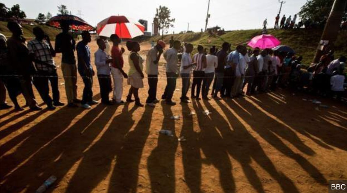 Uganda elections: Queues at polling stations Amidst the increasing tension and an internet shutdown, the opposition presidential candidate Bobi Wine is challenging the rule of Yoweri Museveni who has been in power for 35 years.  Live updates: