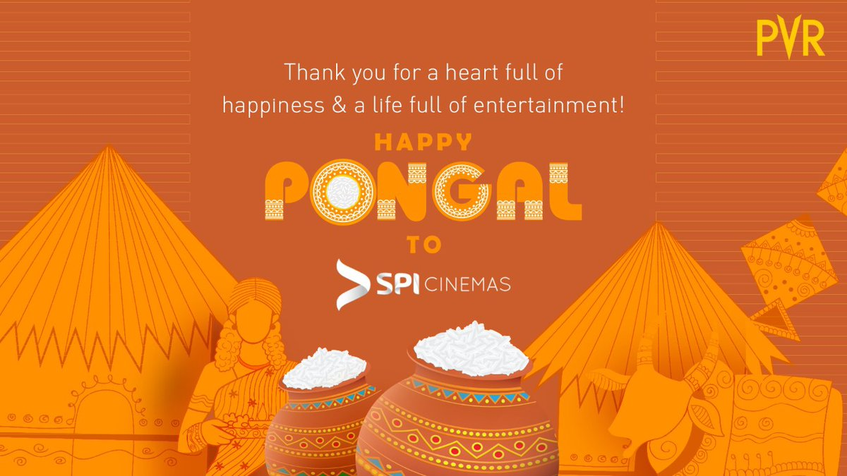 SPI Cinemas, thank you for being our partner in entertainment! You truly help us spread happiness throughout the nation.  Keep prospering! Happy Pongal  #SPICinemas #Pongal #PVR