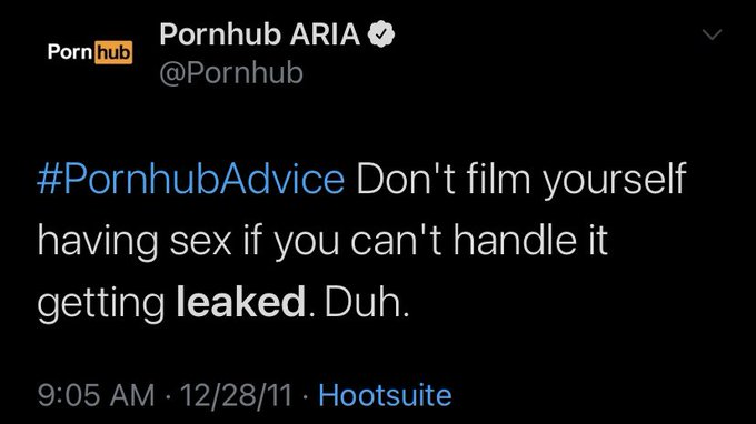 """This is Pornhub's philosophy on revenge porn and image based abuse: """"Don't film yourself having sex if"""