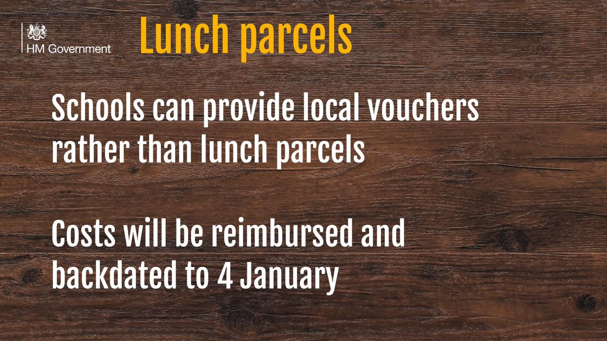 We expect caterers to ensure our food standards are met and adhered to when lunch parcels are prepared.   Since 4 January schools have been able to provide local vouchers instead.   From next week the National Voucher scheme will resume.    #FreeSchoolMeals