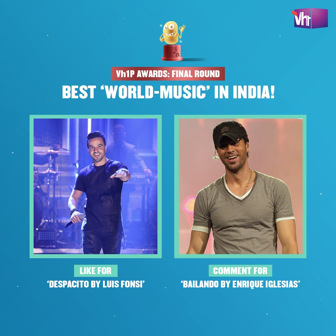 Cos good music never gets lost in translation! 🎶  Like or comment now to make your favorite win the Vh1P Award.   Tune-in to celebrate 16 years of Vh1 with #Vh1PAwards, this Saturday, 6 PM on Facebook LIVE.  #Vh1India #GetWithIt @LuisFonsi @enriqueiglesias