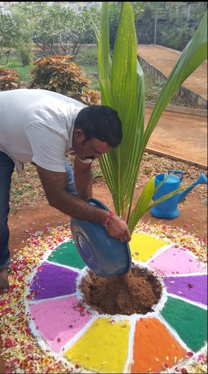 On the occasion of myBirthday and on behalfof @Greenindiachal2  This Programme is intiated byMP @MPsantoshtrs garu I planted a tree sapling and I am dedicating this to my well-wisher and my inspiration Na Anna Jogina Pally SanthoshKumar gariki.Thankyouso much @KTRTRS @raghavtrs