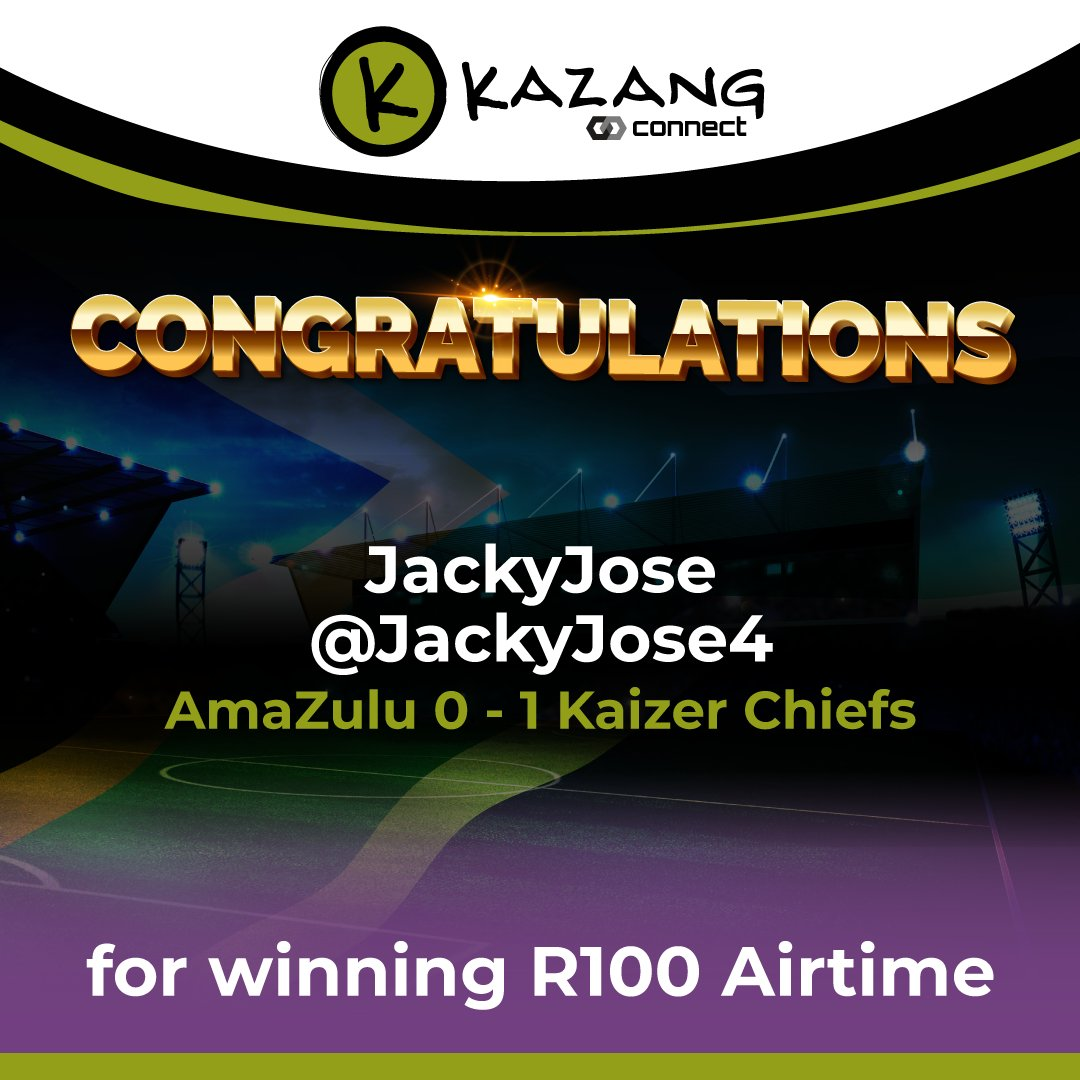 We have randomly chosen a winner in the PSL AmaZulu vs Kaizer Chiefs #PredictandWin...  A big congratulations to JackyJose (@JackyJose4)!  #KazangAfrica https://t.co/dprKV1ZAcU