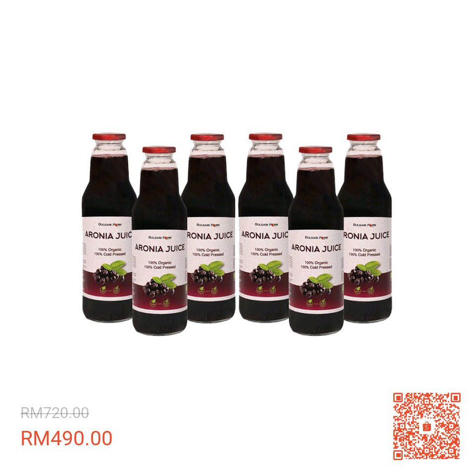I'm selling 6 x Natural Organic Aronia Berry Juice (6 x 750 ml) at 32% off! RM490.00 only. Get it on Shopee now!  #aroniaberry #aroniajuice https://t.co/2eJpFcUNda #ShopeeMY https://t.co/JihJ23GCzM