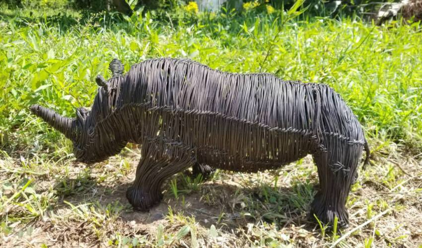 'Snares to Wares' is a community based initiative working with youth and converted poachers in Uganda and transforming wire snares into beautiful sculptures.The initiative now has 300 plus artisans creating >1000 sculptures per month. See this beautiful rhino. PC: @SnarestoWares