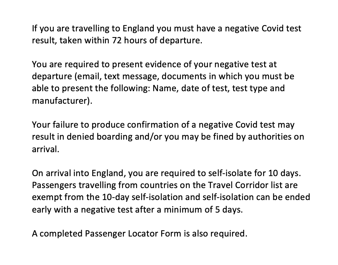 Updated Customer Notice for passengers travelling to England from January 18th 👇  For test requirements and other useful links, please see here: https://t.co/vpOmGP16E5 https://t.co/gJwGwSz5dN
