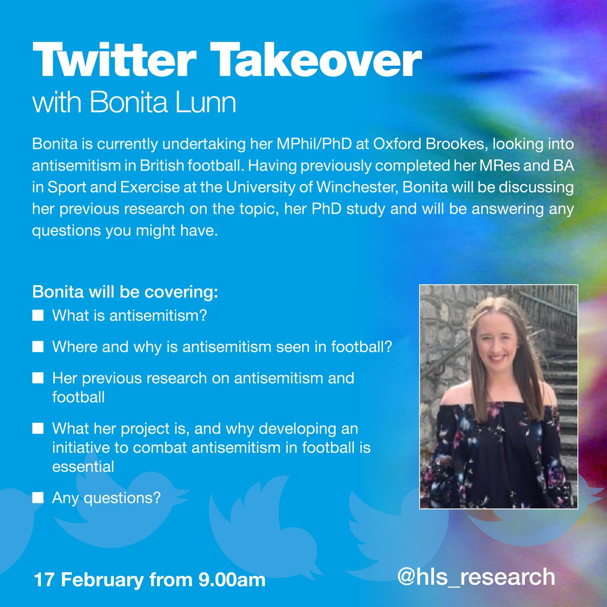 This @hls_research #Twitter takeover on 17 Feb with @BonitaJayneLunn from @OBUSportCourses is going to be very interesting..