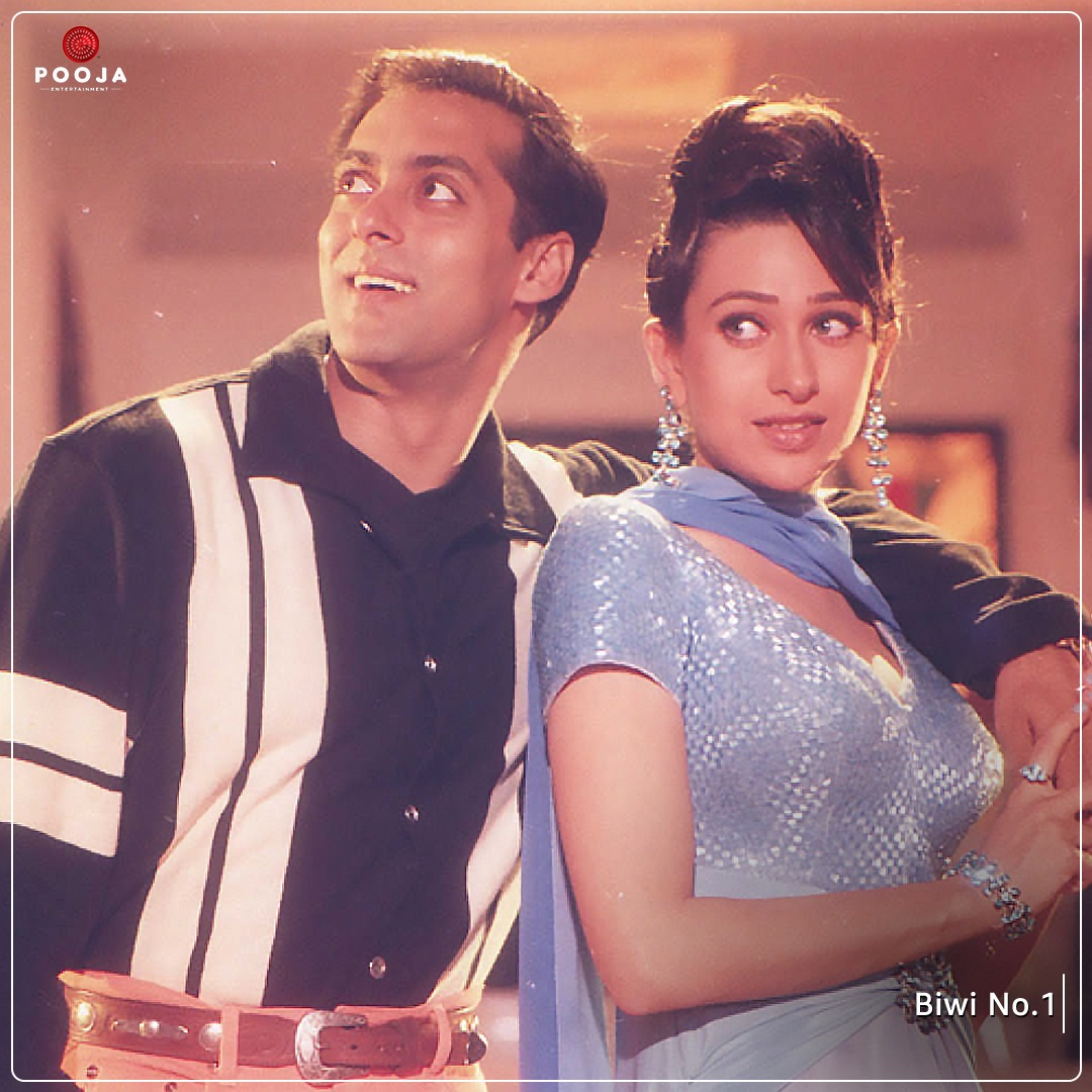 Here's a picture of Prem and Pooja to brighten up your day ☺️  @BeingSalmanKhan  #BiwiNo1 #SalmanKhan #KarismaKapoor #SushmitaSen #AnilKapoor #Tabu #ThrowbackThursday #Throwback #PoojaEntertainment
