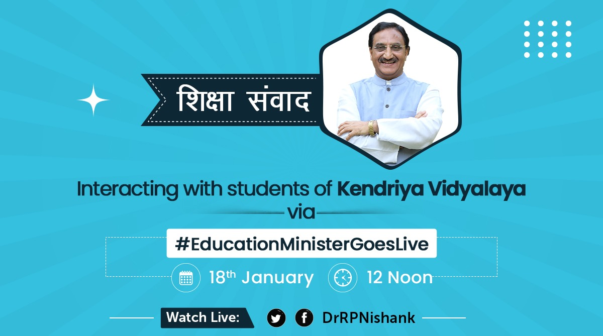 @AshokChoudhaary @NitishKumar I will be going #live to interact with the students of Kendriya Vidyalaya on 18th January at 12 noon.  Join the session #live on my Twitter /FB pages, 🔎for username: @DrRPNishank.  Looking forward to the interaction!  #EducationMinisterGoesLive  सीखिए कुछ