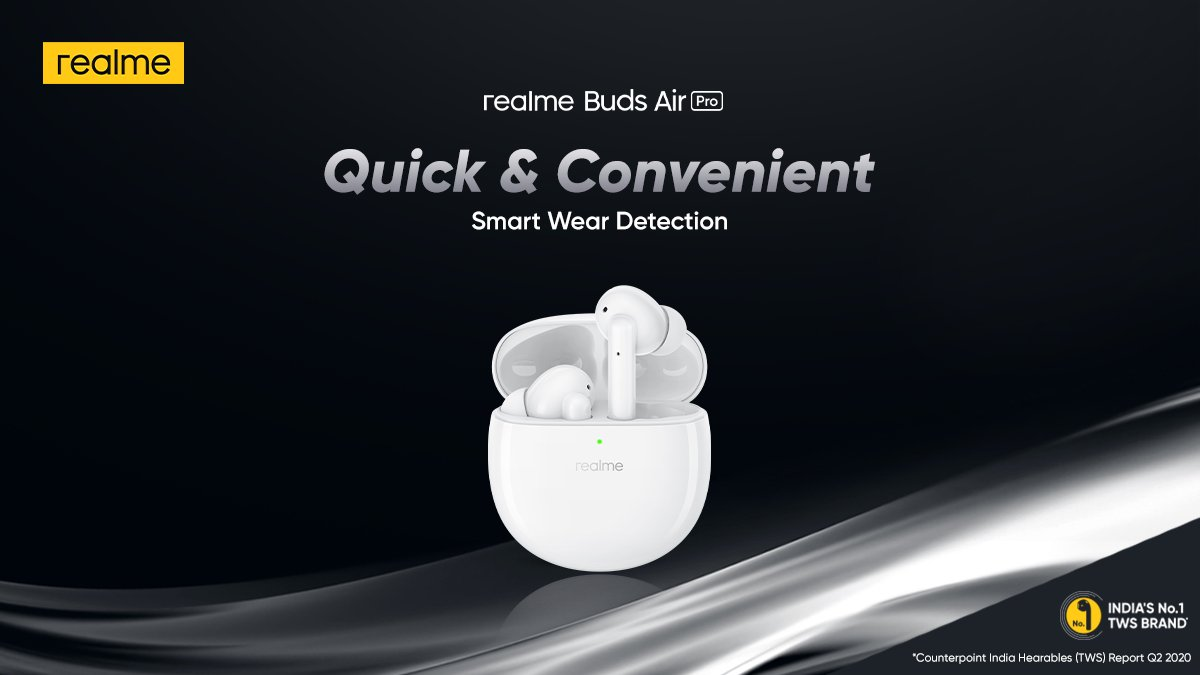 The Smart Wear Detection of #realmeBudsAirPro helps you #TuneOutTheNoise and automatically pauses music when taken out.   Priced at ₹4,999. Available on  & @Flipkart. Buy now: