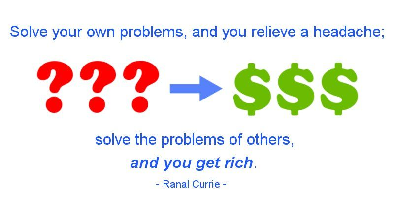 Solve your own problems, and you relieve a headache; solve the problems of others, and you get rich.  #quote #success #problems #rich #ThursdayThoughts