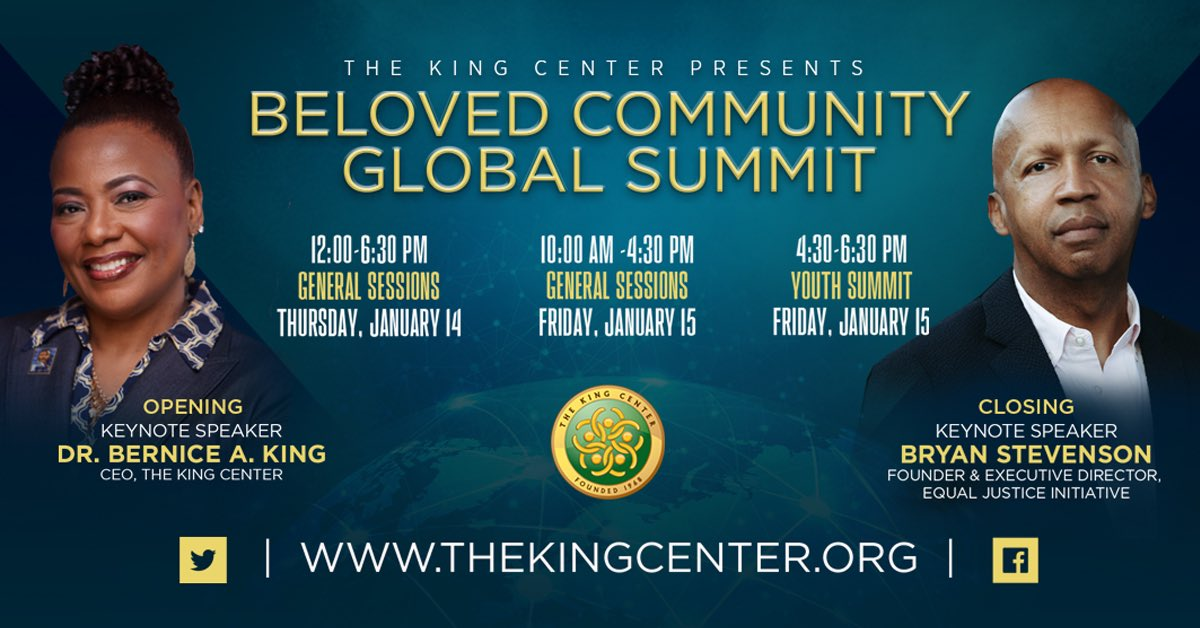 Happening right here TODAY (12pm-6:30pm ET) and TOMORROW (10am-4:30pm ET). I invite you to @TheKingCenter's Beloved Community Global Summit. We can create the #BelovedCommunity. Let's discuss the what, where, how, why. Streaming here and at . #MLK #MLKDay