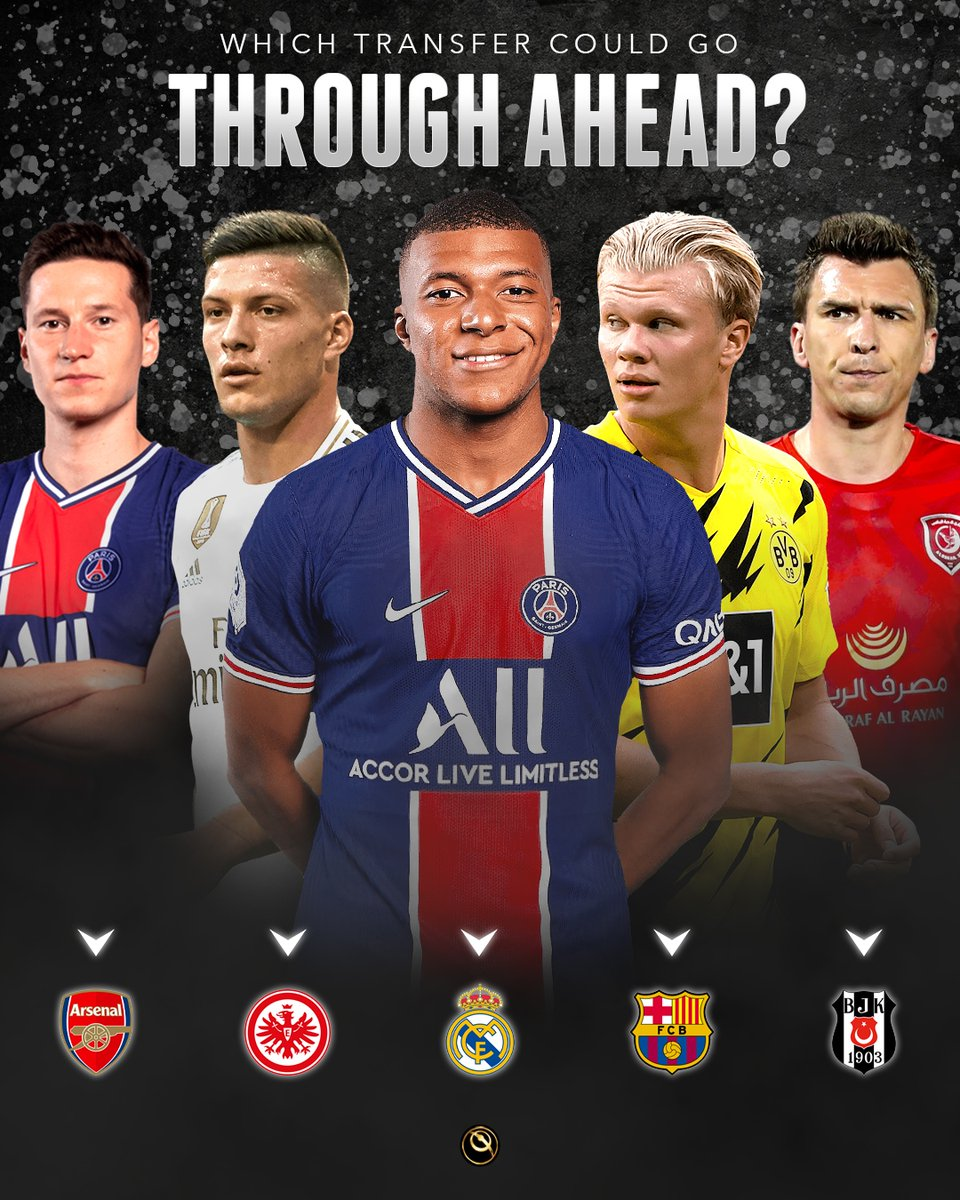 🤔 Which transfer could go through ahead:  ⚡ Draxler to Arsenal? ⚡ Jovic to Eintracht Frankfurt? ⚡ Mbappé to Real Madrid? ⚡ Haaland to FC Barcelona? ⚡ Mandžukić to Besiktas?
