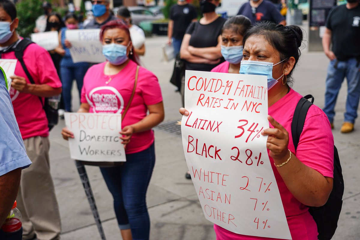 Black and Latinx communities bear the brunt of Covid-19.  The second surge is here and New Yorkers are suffering. Essential workers can't wait for a vaccine. We need protections NOW.  NY State Legislature must #protectnyheroes and pass the #NYHERO Act!  ➡️