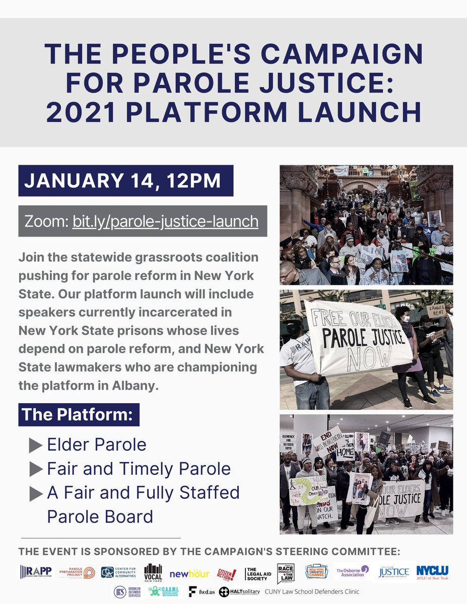 TODAY: Incarcerated New Yorkers, victim & survivor advocates, and 25+ lawmakers are launching the People's Campaign for Parole Justice to promote meaningful release opportunities for people in New York State prisons. Join us: bit.ly/parole-justice… #ParoleJusticeNY