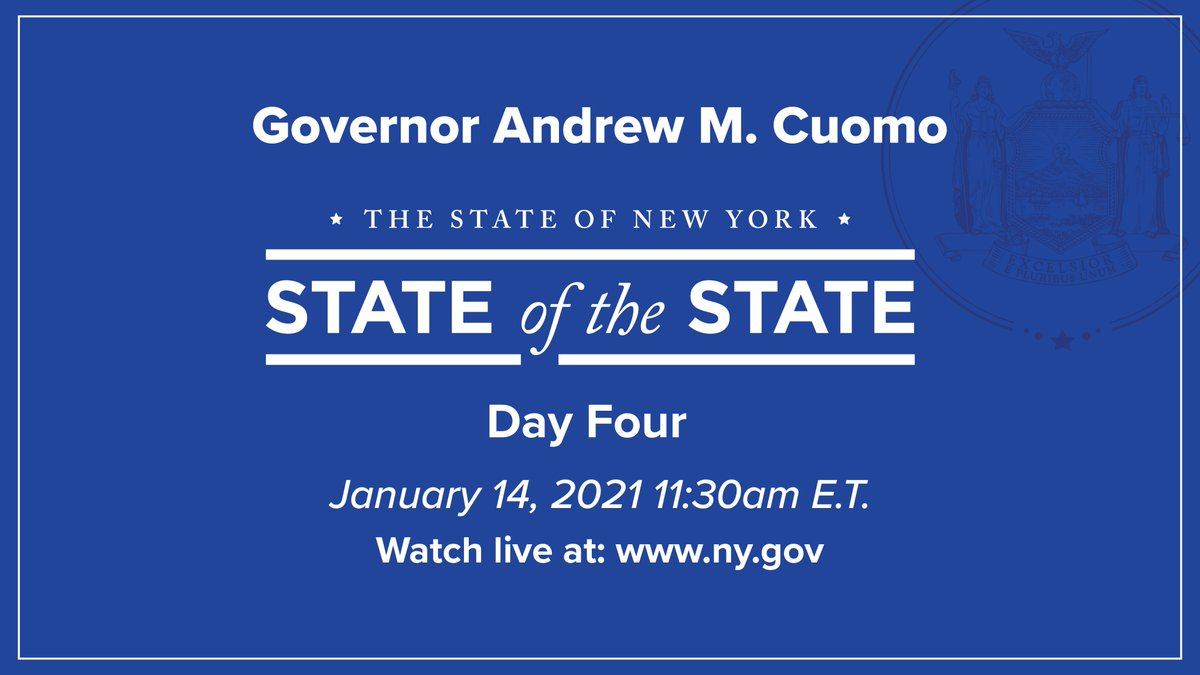 I will be delivering the fourth and final part of my 2021 State of the State address at 11:30am ET.  Join me and watch live:    #SOTS2021