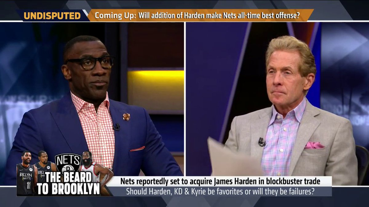 """""""I don't think LeBron will ever win another championship.""""   @RealSkipBayless reacts to Harden joining Nets"""