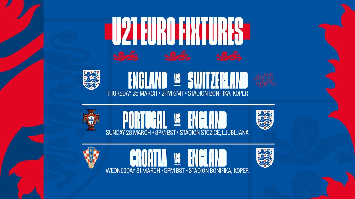 The kick-off times and venues for our #YoungLions'#U21EURO finals group stage matches have been confirmed: