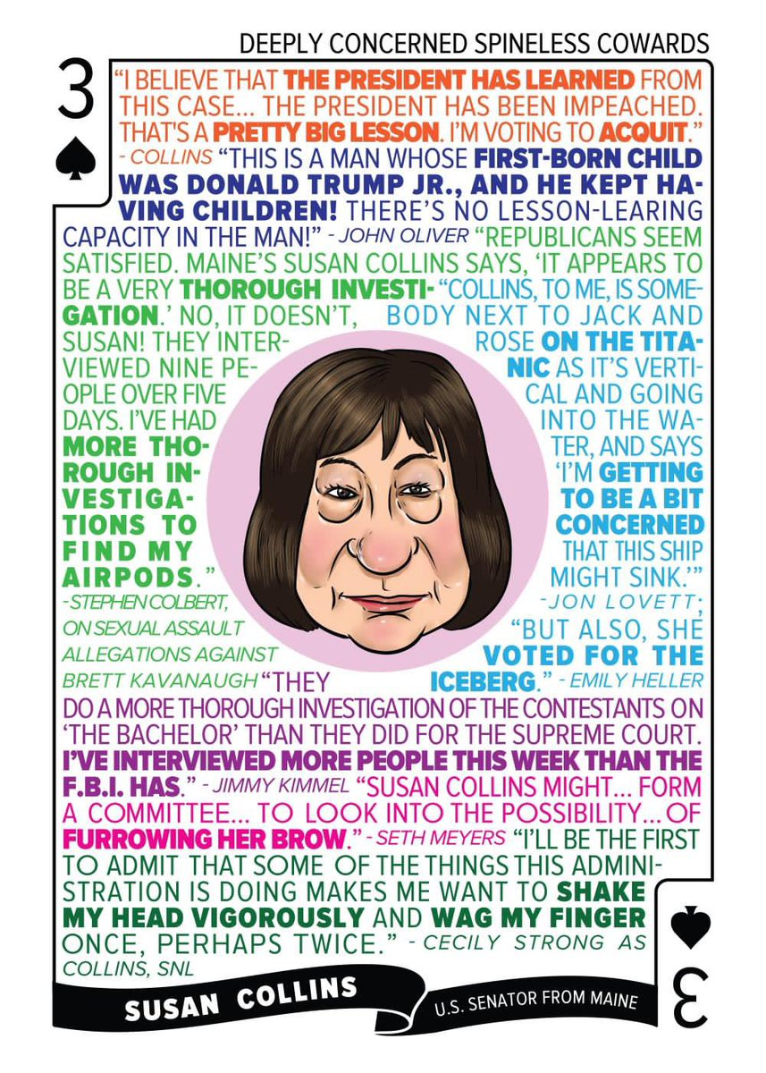 Susan Collins can't say Trump learned his lesson this time. What new excuse will she go with to acquit him? Inquiring minds want to know. Susan is the 3♠️ at https://t.co/33IjBzDhDv https://t.co/FGYDU18XVX