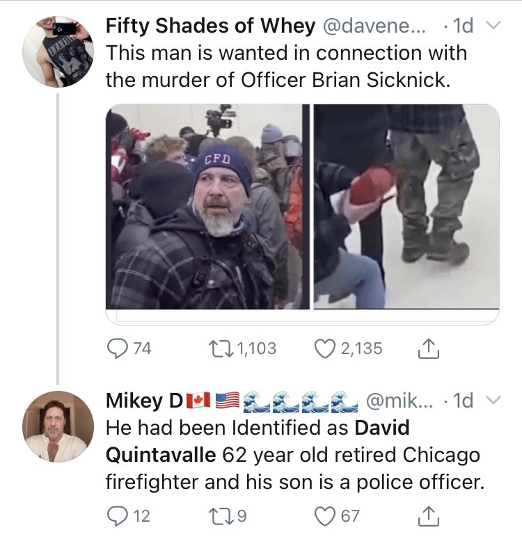 Retired Chicago Firefighter Accused Of Participating In Capitol Riot. He Was 600 Miles Away.  Now hunt down the folks who did this and throw them in jail. Start with @DazzleRazzberry @davenewworld_2 #RemoveTheTraitors #FBI #trash