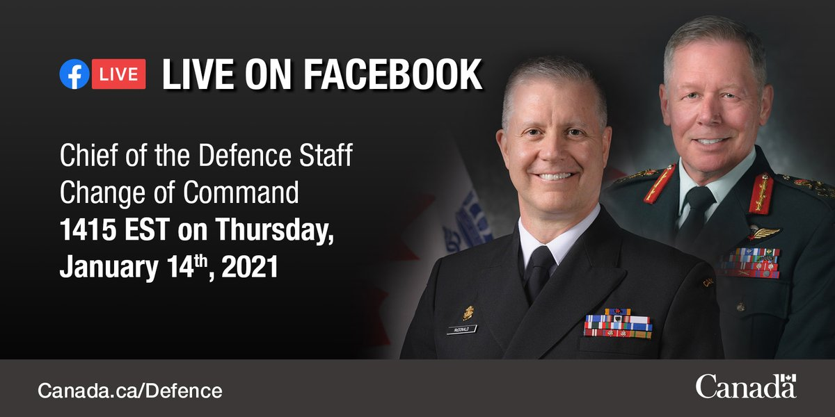 Tune into the @CanadianForces Facebook page at 2:15 p.m. EST today for the Change of Command of the CAF ceremony, which will see command transfer from Gen Jonathan Vance to VAdm Art McDonald. Full program can be viewed here: canada.ca/en/department-…