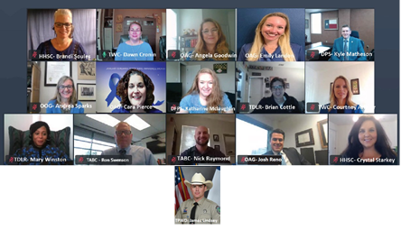 TXHTPCC proudly showed off their blue during a virtual meeting on January 6, 2021 to collaborate among agencies during Human Trafficking Awareness month and discuss strategies to combat this crime in the New Year! #WearBlueDay #TexansWearBlue