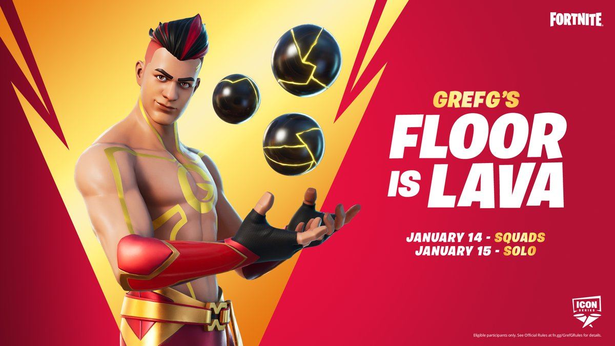Watch your step, @TheGrefg's Floor is Lava Squads Tournament has started!  Compete for a chance to earn his Cosmetic Set before it drops into the Shop.  Check in game for when it's live in your region.  More info:
