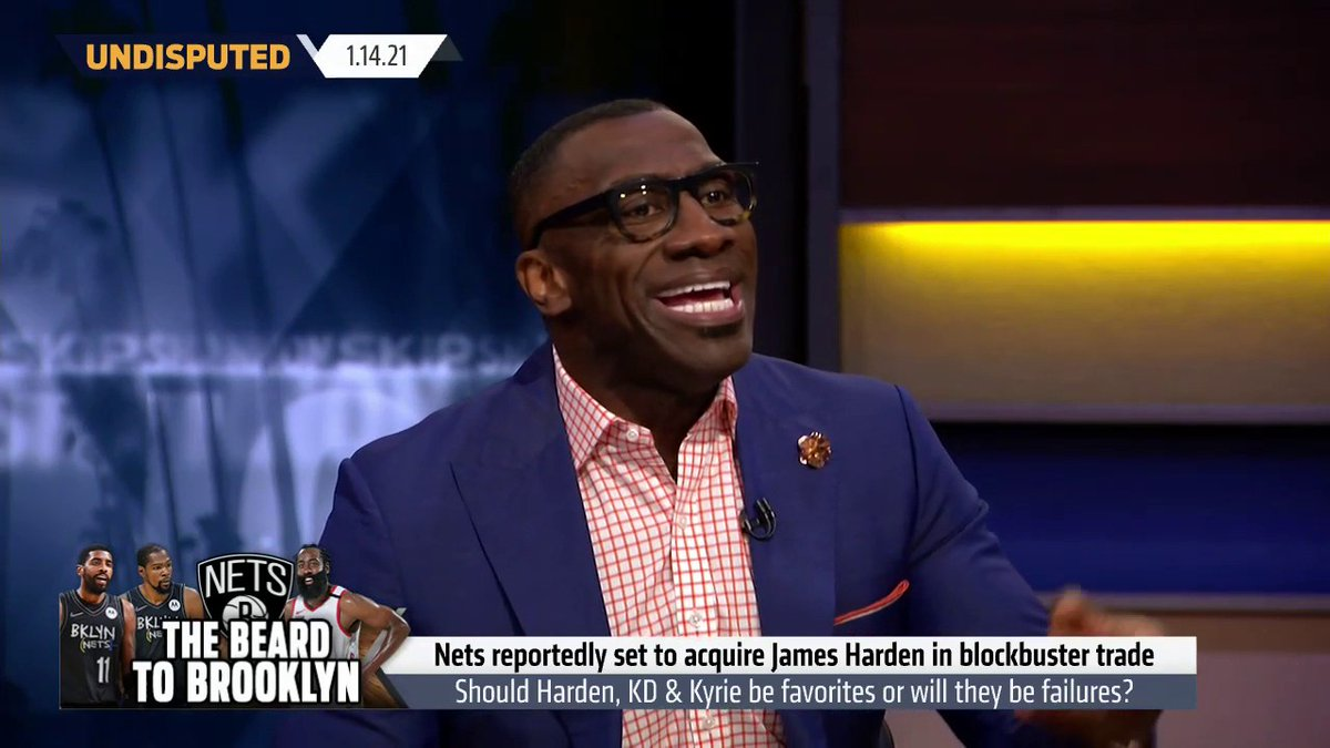 """""""I don't care how accomplished you are, someone has to be 1, 2 and 3. Now all of a sudden Kyrie who didn't want to play 2nd fiddle, is now going to be the 3rd fiddle?""""  @ShannonSharpe on Harden being traded to the Nets"""