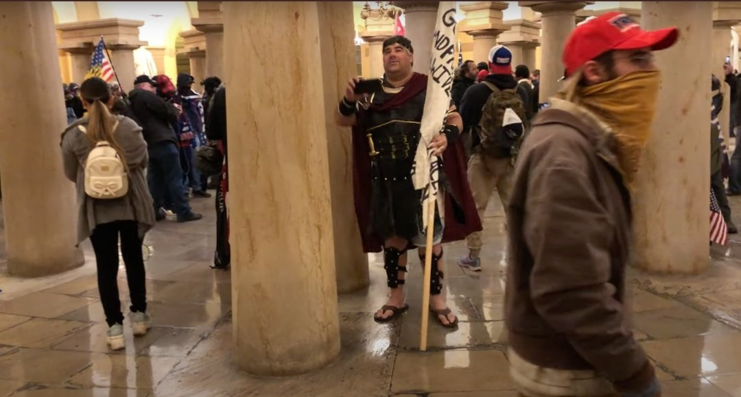 Oh my Lord! I thought I'd seen all the ludicrous, attention seeking morons. Who is the Roman Soldier? @FBI #CapitolRiots