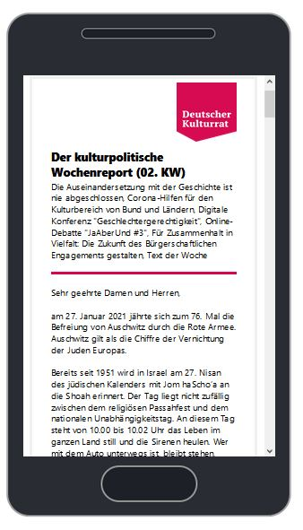 Image for the Tweet beginning: Der kulturpolitische Wochenreport (02. KW)