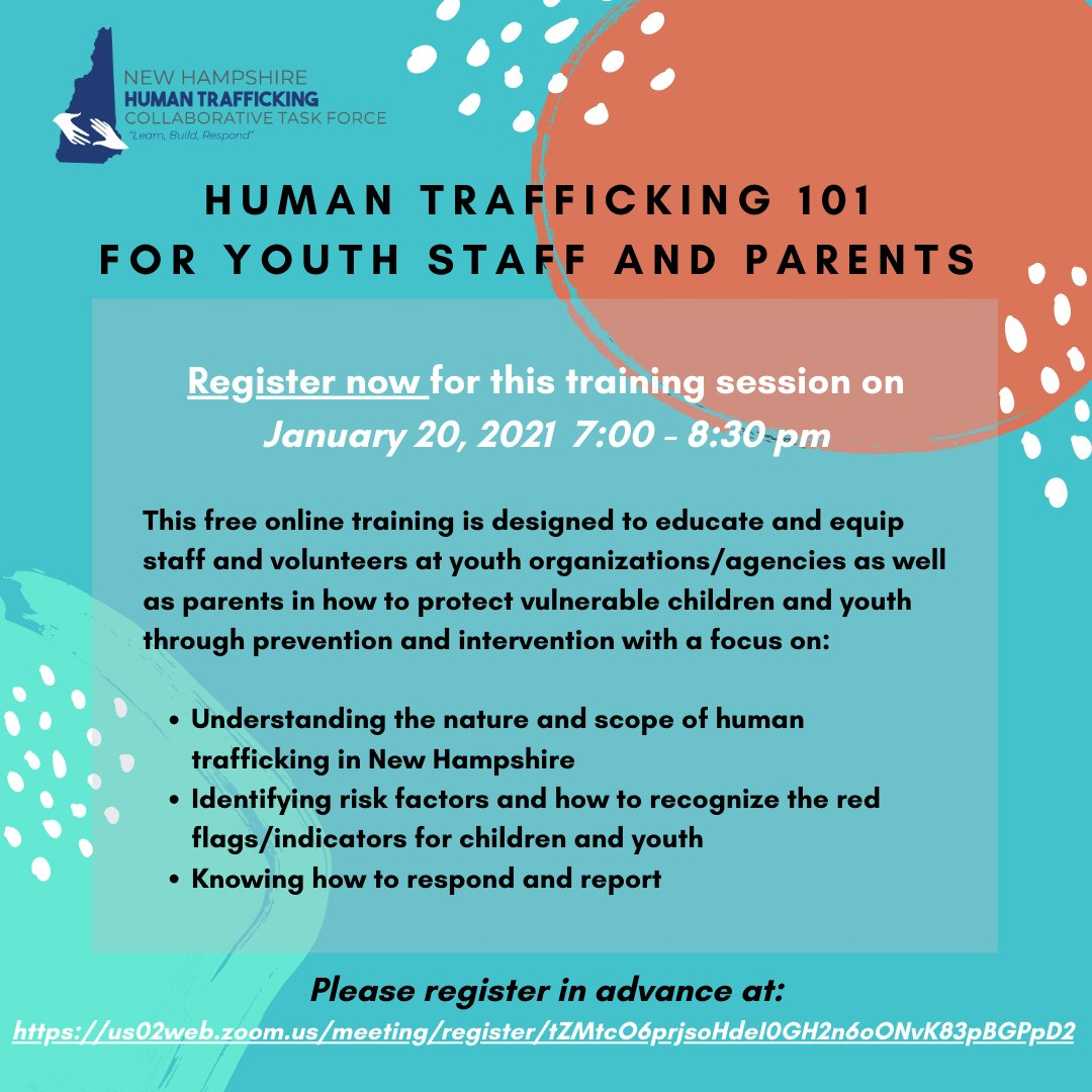Join us for this free online training session happening next Wednesday here: . Please share with friends to help end human trafficking! #EndTrafficking #FreedomFirst  #NationalHumanTraffickingPreventionMonth
