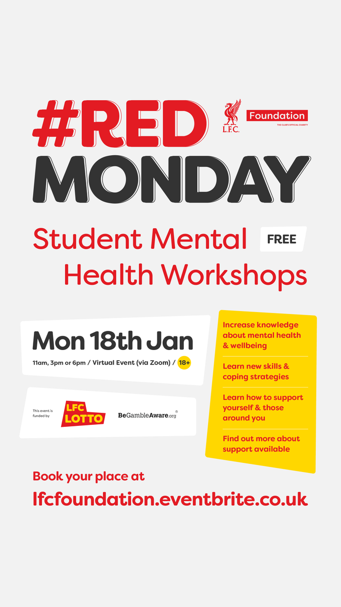 LFC Foundation's Student Mental Health Workshops 💭❤️  🔻Monday 18 Jan & 🆓 to book now:  🔻AM:    🔻PM:    🔻EVE:    #RedMonday