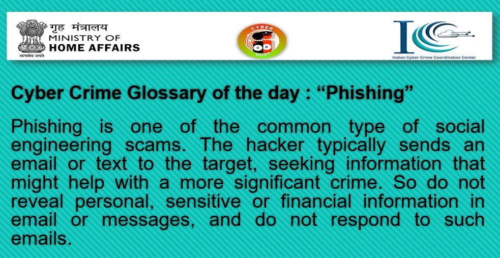 """Replying to @Cyberdost: Cyber Crime Glossary of the day : """"Phishing"""""""