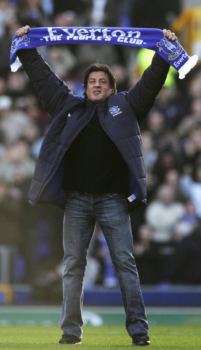 🥊 | Rocky Balboa, Raymond Tango and John Rambo at Goodison Park.  #onthisday in 2007. ⏪  Still got the scarf, @TheSlyStallone? 🔵