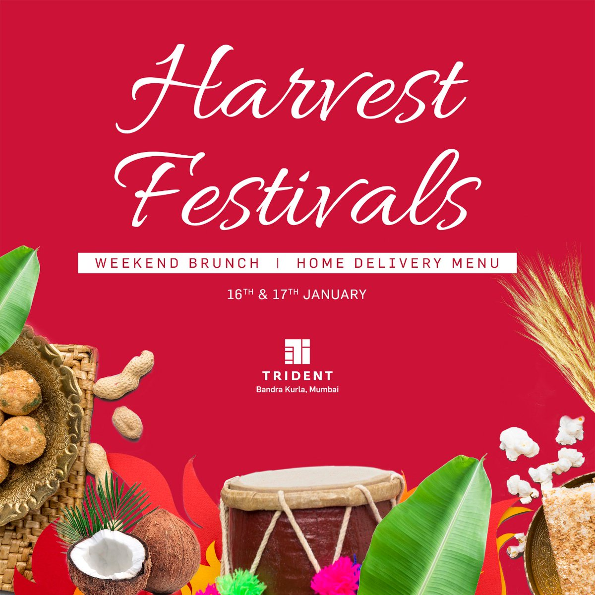 Celebrate the spirit of India's harvest festivals with a bountiful blend of Lohri and Pongal delights this weekend. To  view our home delivery menu click https://t.co/RR3kqJ1dtz  to order, please call: +91 6672 7626 #TridentBKC #HarvestFestivals #WeekendBrunch https://t.co/7zKQT9z06i