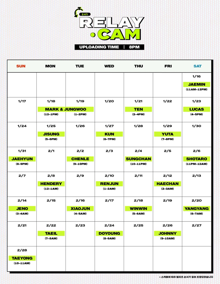 ⏱NCT 24hr RELAY CAM Uploading Schedule NCT Official Youtube youtube.com/nctsmtown #NCT_24hr_RELAYCAM #RELAYCAM #24hr_RELAYCAM #NCT #NCT127 #NCTDREAM #WayV