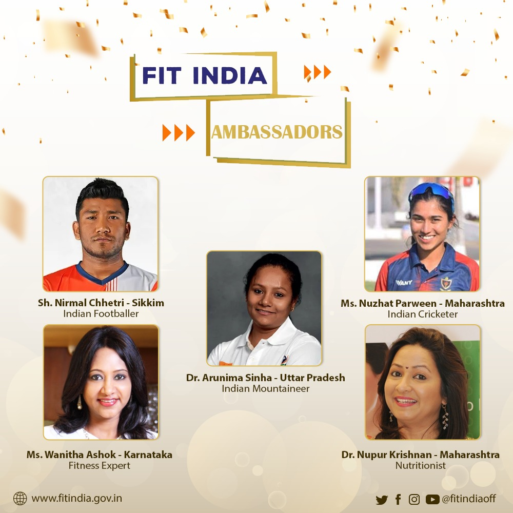 The people's fitness movement gets even bigger in the New Year!   We welcome some more fitness celebrities of the country -  Dr. @sinha_arunima, Sh. Nirmal Chhetri, Ms. @Nuzhatparween2, Ms. @wanithaashok, and @DrNupurKrishnan! 💪🎉  #NewIndiaFitIndia  @KirenRijiju @DGSAI .