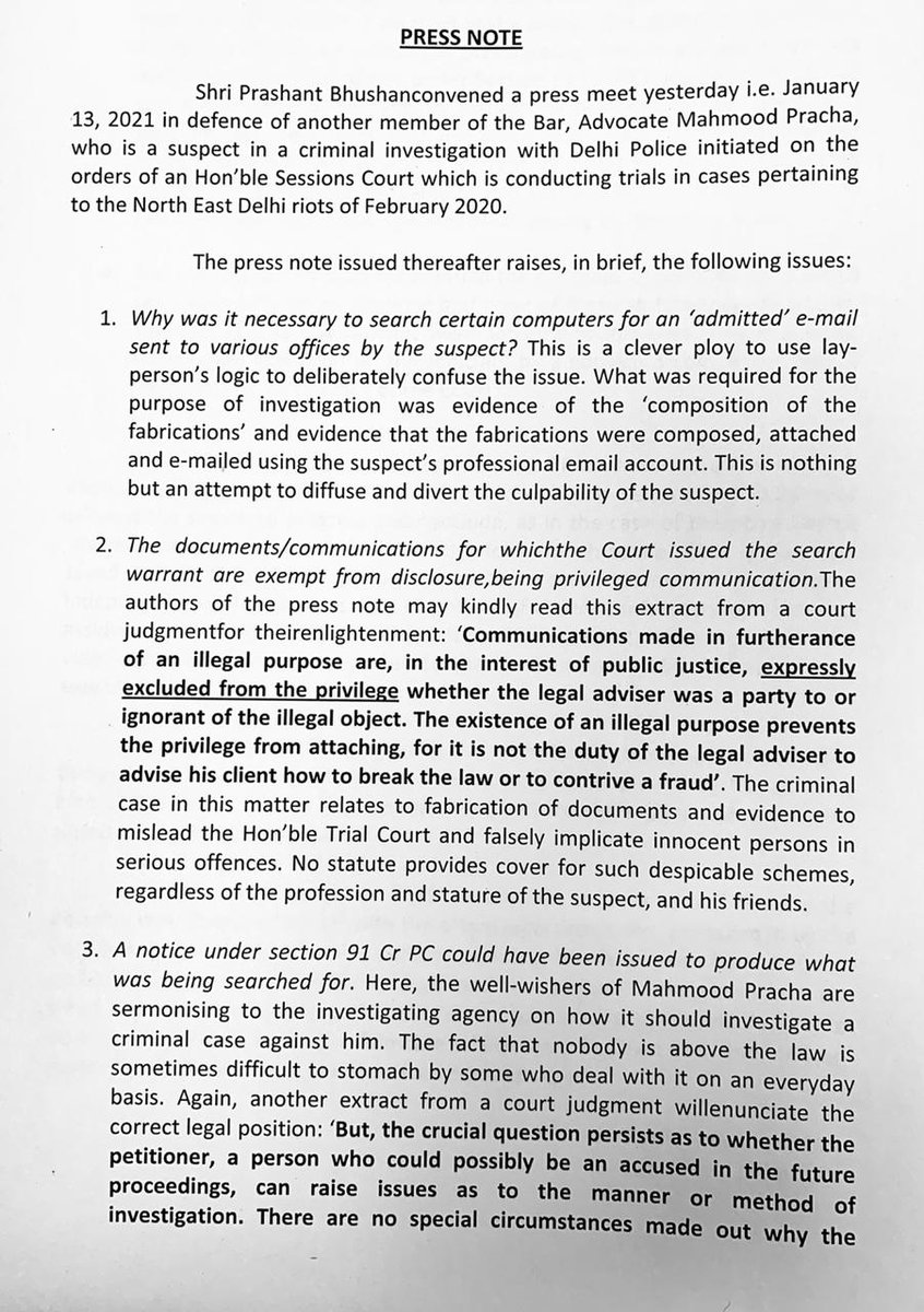 A press release was issued yesterday by Shri Prashant Bhushan criticising certain aspects of a case being investigated by Delhi Police. A factual reply to the insinuations and falsehoods in the arguments put forth is attached for information of all concerned @CPDelhi @LtGovDelhi