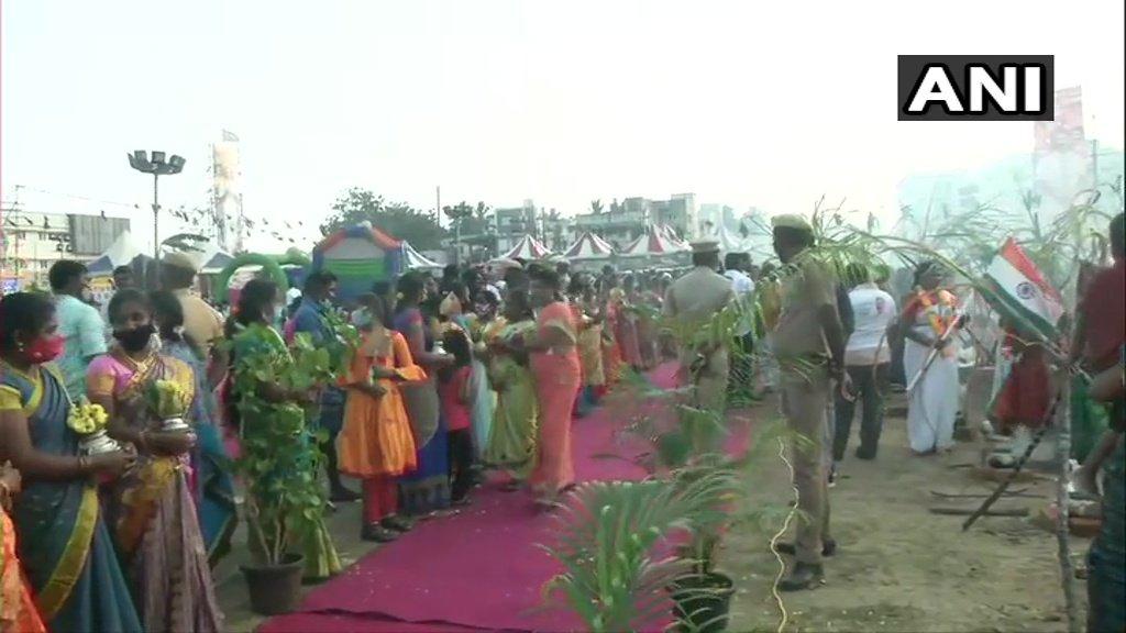 Tamil Nadu: Bharatiya Janata Party (BJP) President JP Nadda arrives in Chennai, to attend BJP's Pongal event today.