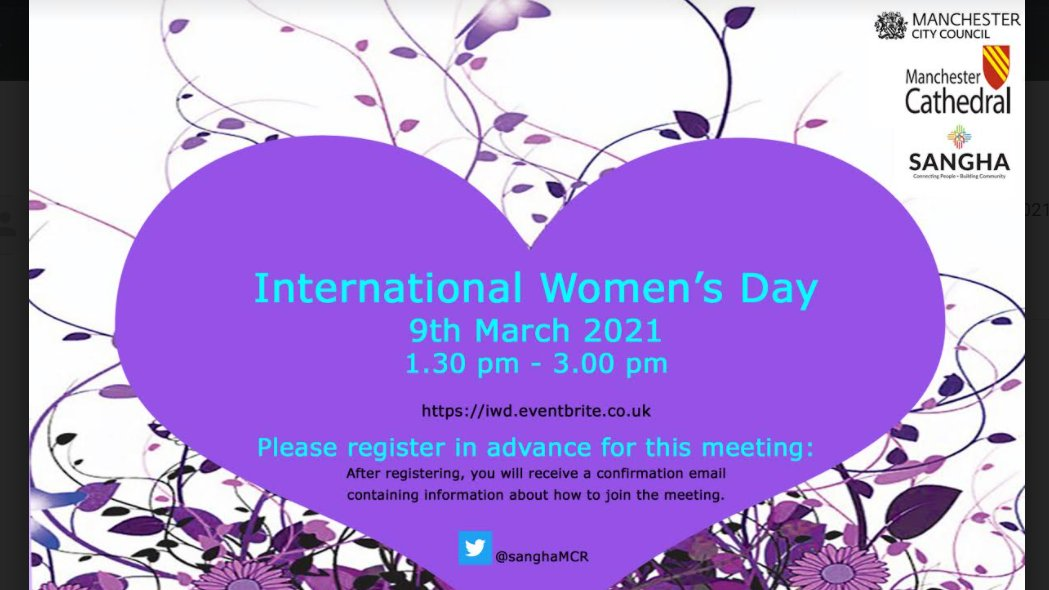 It's here! Our wonderful women's day zoom with @ManCityCouncil and @ManCathedral register now for your place:  👩‍🔬👩‍🎓👩🧕👩‍🍳👩‍🚒 Celebrating women of different backgrounds with keynote speakers! #InternationalWomensDay #iwd2021 @SupportingSist1 @itsherstorycic