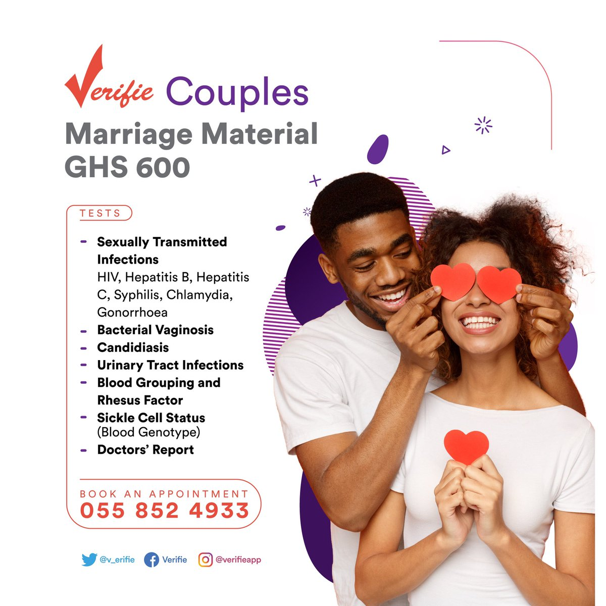 Contemplating, starting a relationship or taking it up a notch? You and your partner need to know some basic facts about each other - STI status + Blood group + Genotype (sickle cell status). It's a no brainier! Book for a test here
